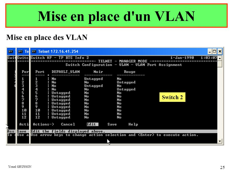 Mise en place d un VLAN Mise en place des VLAN Switch 1 Switch 2