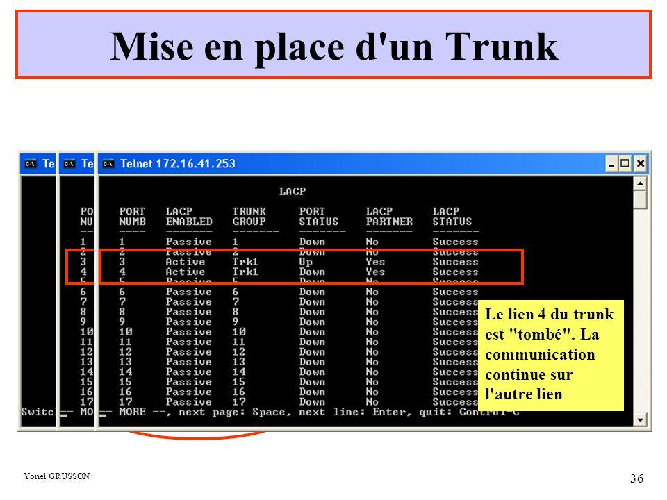 Mise en place d un Trunk Le lien 4 du trunk est tombé . La communication continue sur l autre lien.