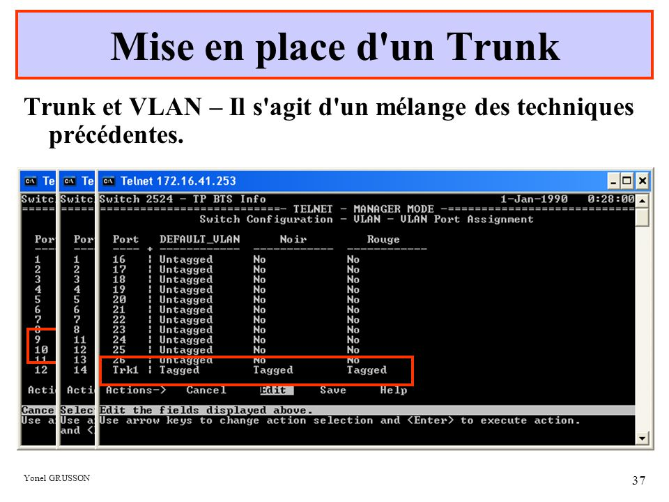 Mise en place d un Trunk Trunk et VLAN – Il s agit d un mélange des techniques précédentes.