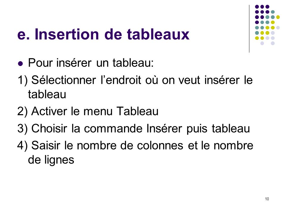 e. Insertion de tableaux
