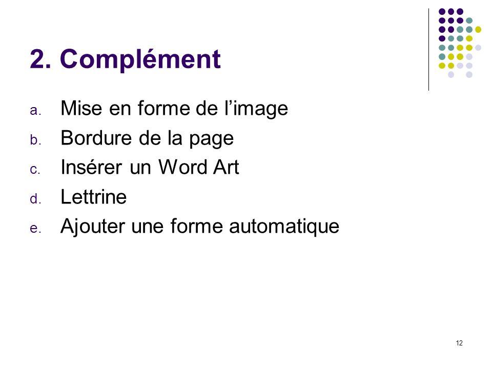2. Complément Mise en forme de l'image Bordure de la page