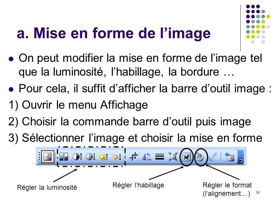 a. Mise en forme de l'image