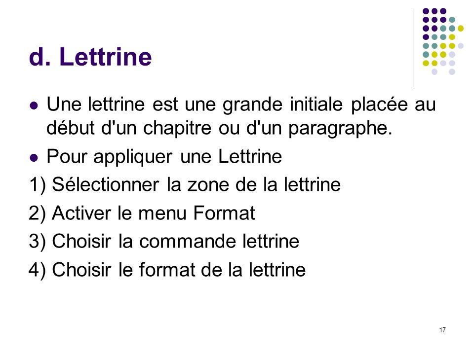 d. Lettrine Une lettrine est une grande initiale placée au début d un chapitre ou d un paragraphe. Pour appliquer une Lettrine.