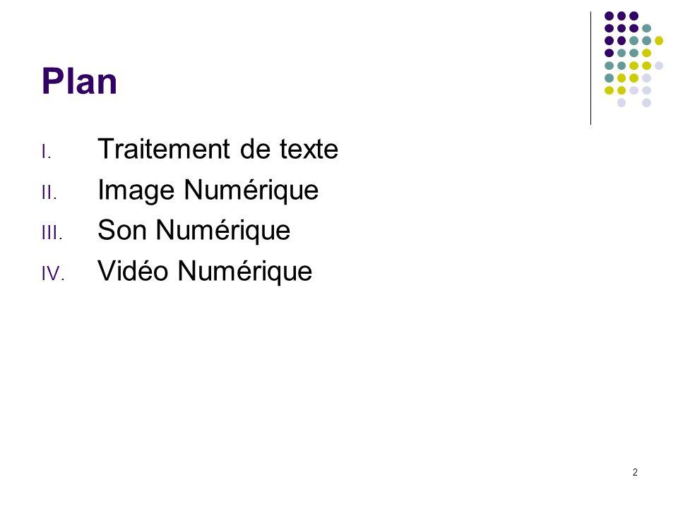 Plan Traitement de texte Image Numérique Son Numérique Vidéo Numérique