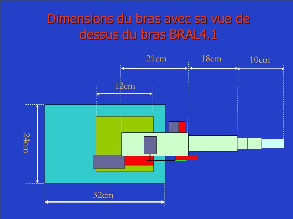 Dimensions du bras avec sa vue de dessus du bras BRAL4.1