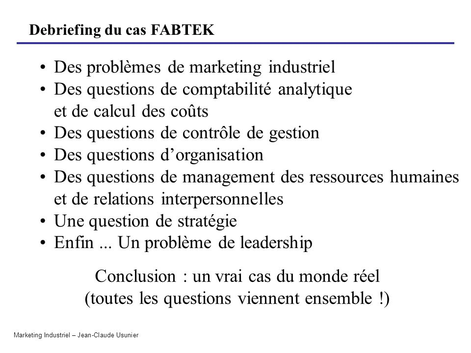 Des problèmes de marketing industriel
