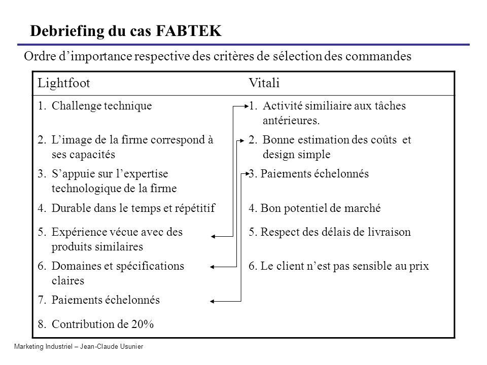 Ordre d'importance respective des critères de sélection des commandes