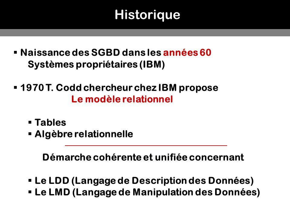 Historique Naissance des SGBD dans les années 60