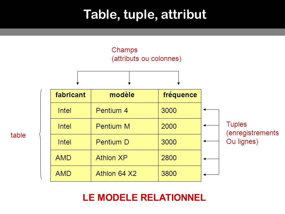 Table, tuple, attribut LE MODELE RELATIONNEL Champs