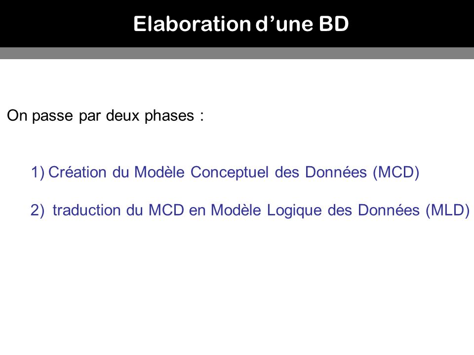Elaboration d'une BD On passe par deux phases :