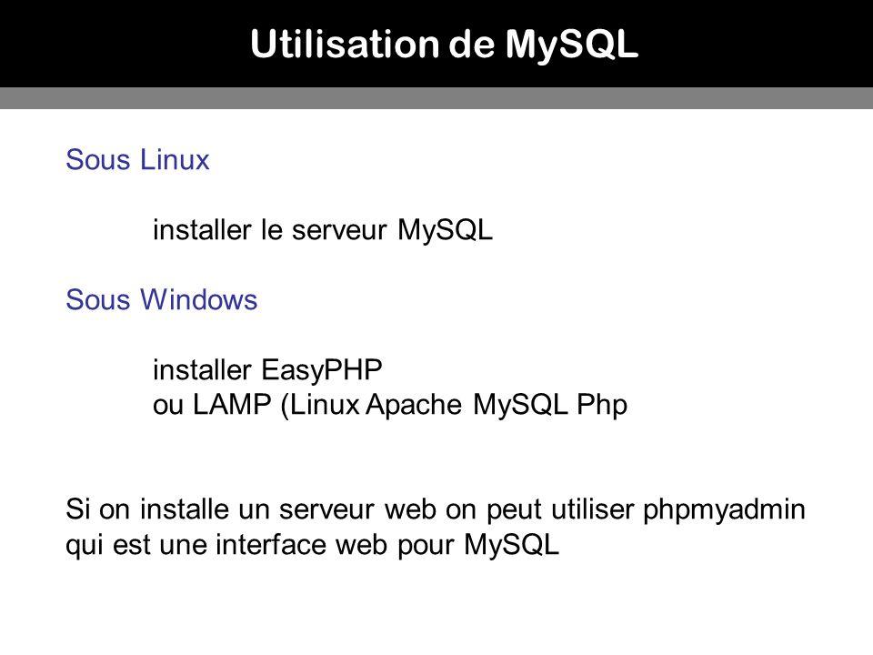 Utilisation de MySQL Sous Linux installer le serveur MySQL