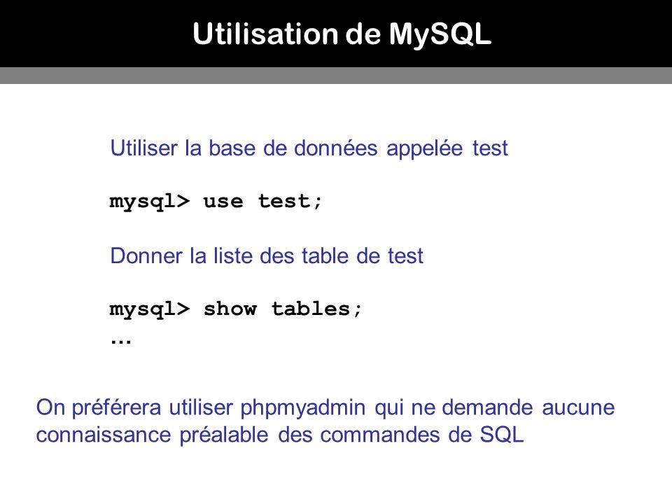 Utilisation de MySQL Utiliser la base de données appelée test