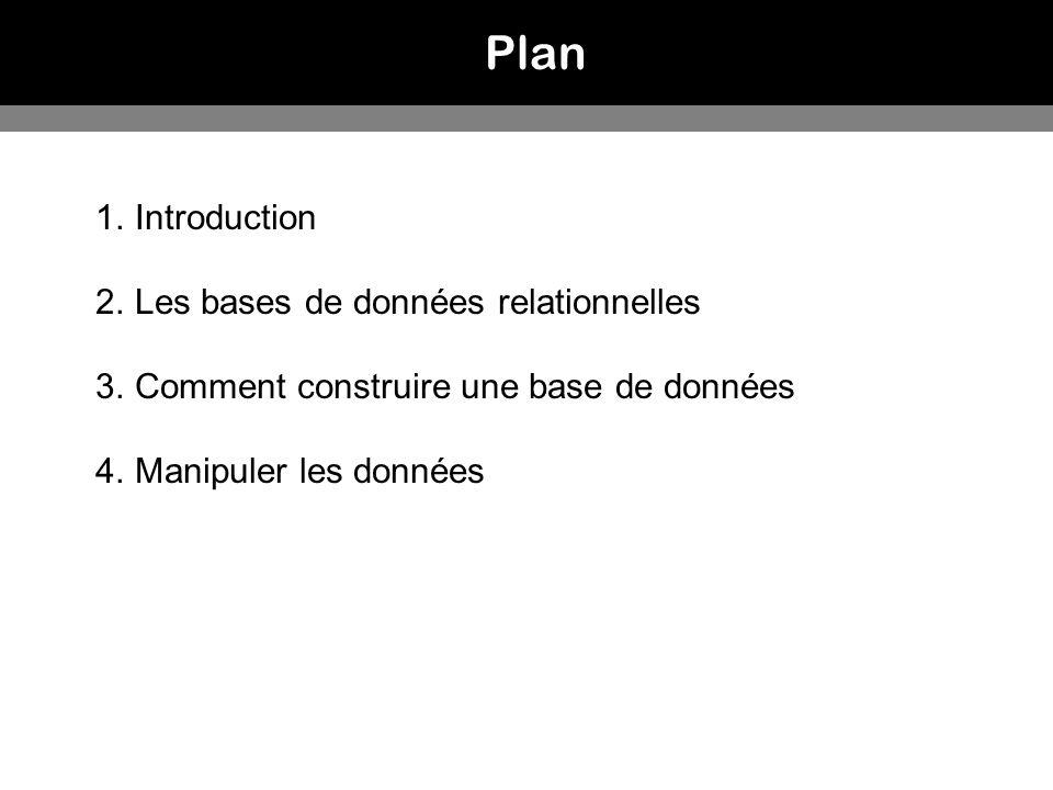 Plan Introduction Les bases de données relationnelles