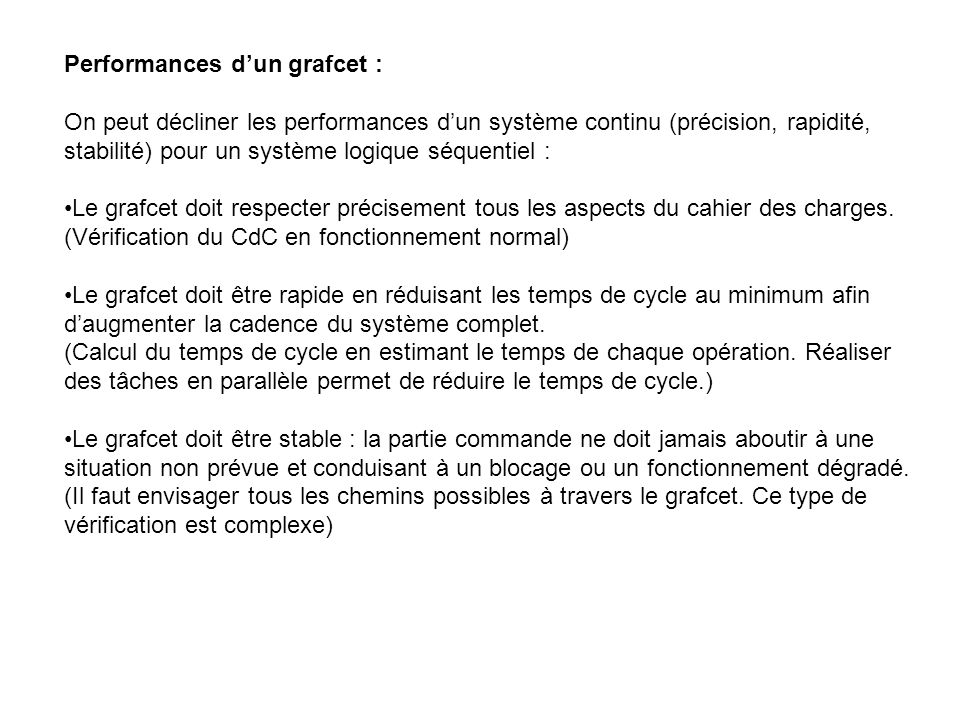 Performances d'un grafcet :