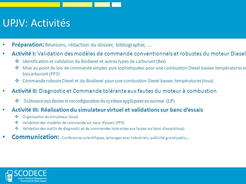 UPJV: Activités Préparation: Réunions, rédaction du dossier, bibliographie, ...