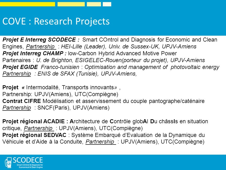 COVE : Research Projects