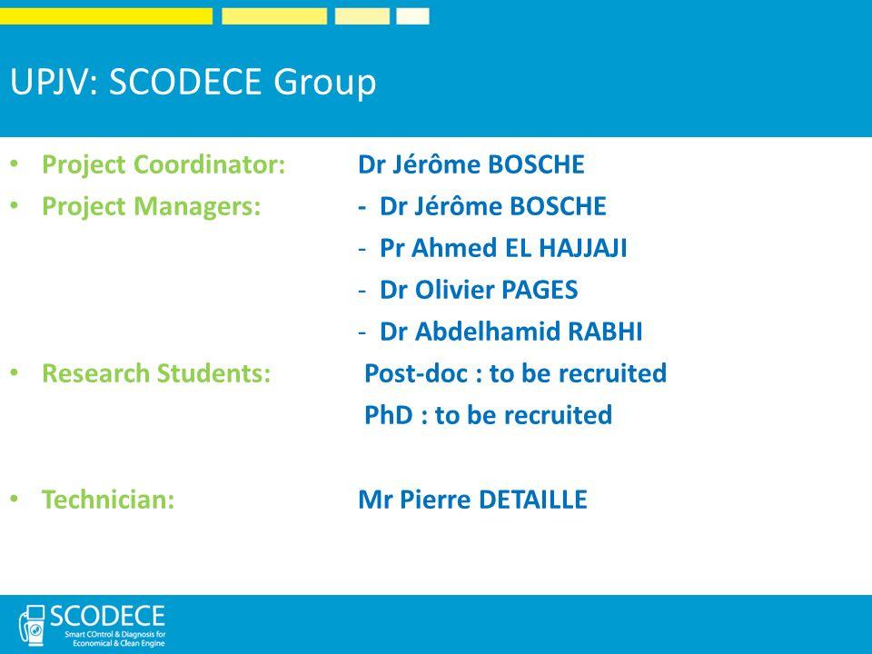 UPJV: SCODECE Group Project Coordinator: Dr Jérôme BOSCHE
