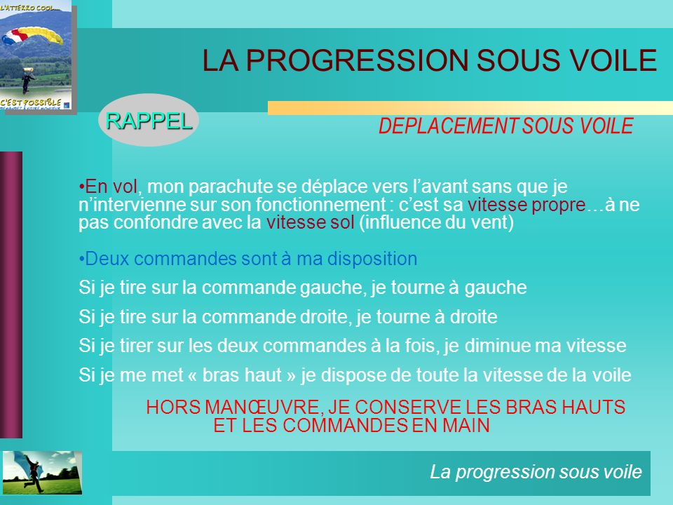 DEPLACEMENT SOUS VOILE