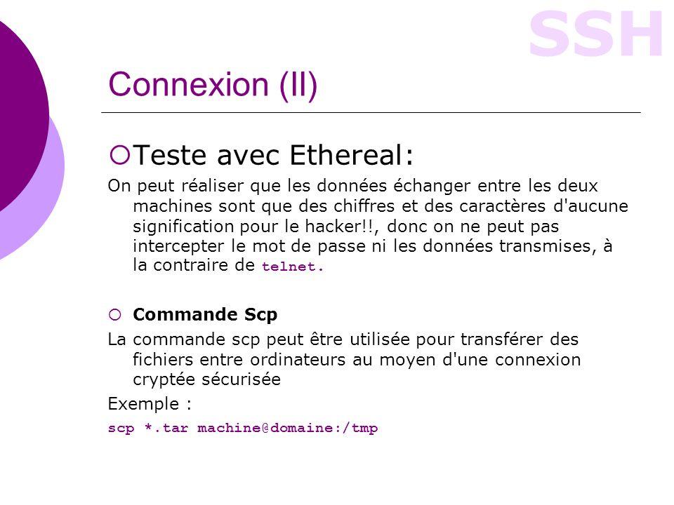 Connexion (II) Teste avec Ethereal: