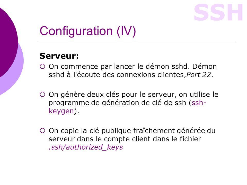 Configuration (IV) Serveur: