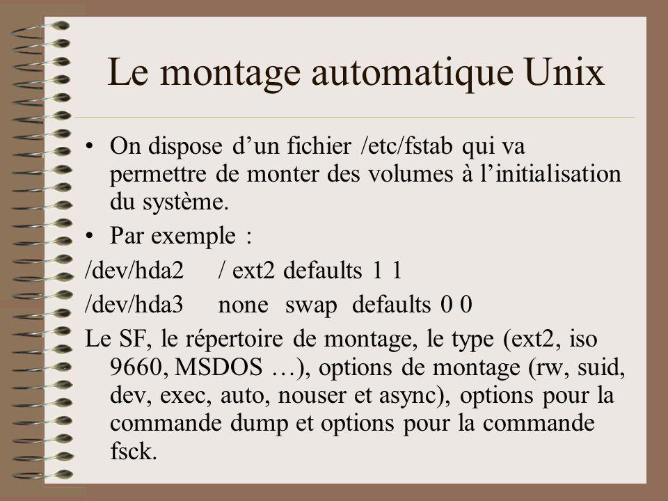 Le montage automatique Unix