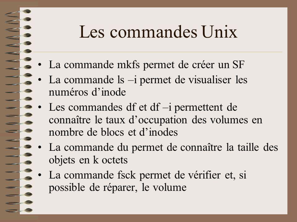 Les commandes Unix La commande mkfs permet de créer un SF