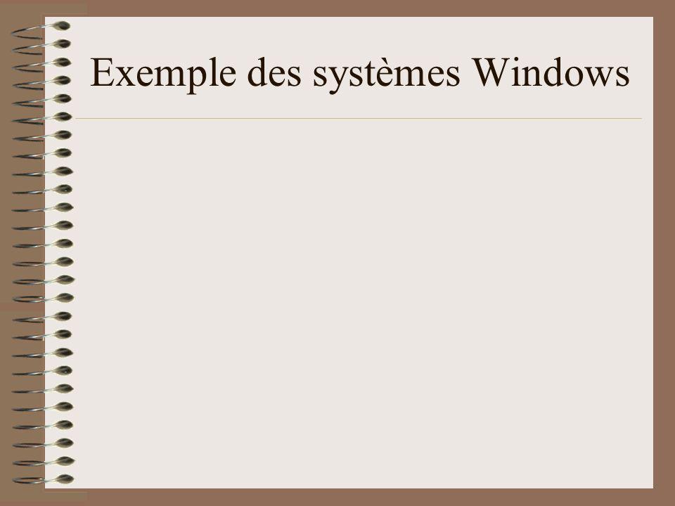 Exemple des systèmes Windows
