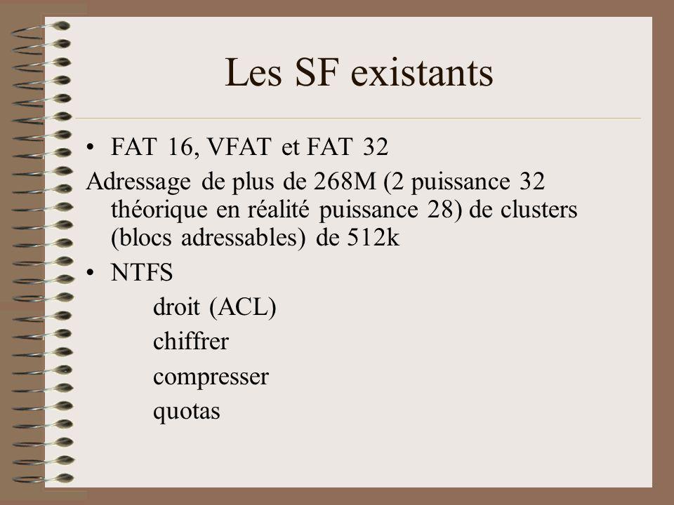 Les SF existants FAT 16, VFAT et FAT 32