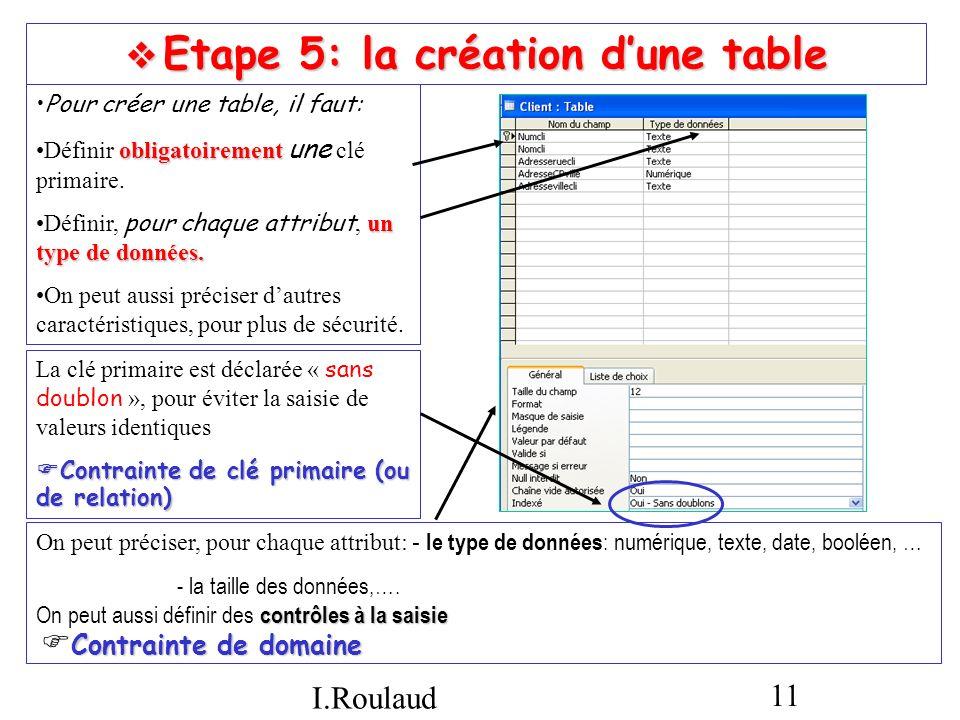  Etape 5: la création d'une table