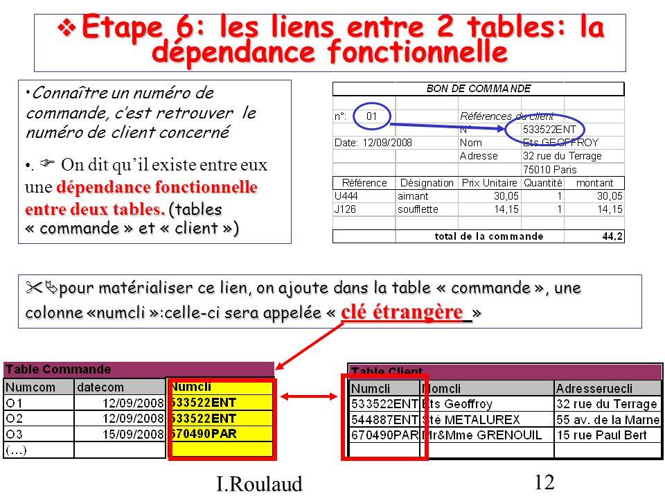  Etape 6: les liens entre 2 tables: la dépendance fonctionnelle