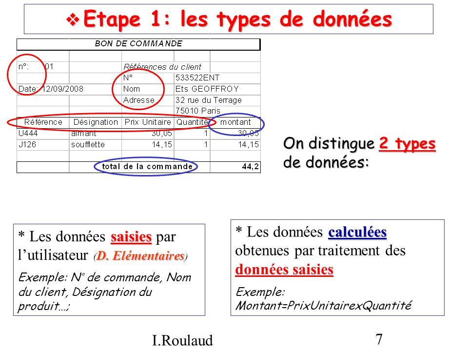  Etape 1: les types de données