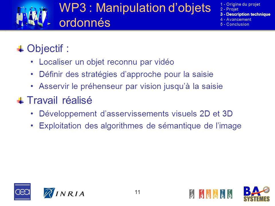 WP3 : Manipulation d'objets ordonnés