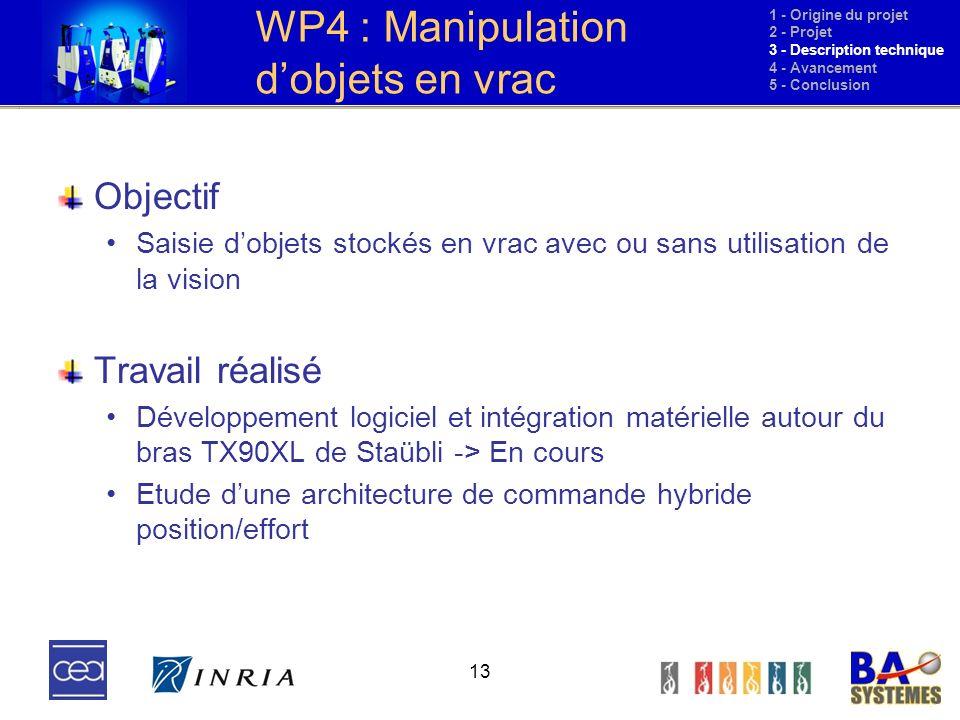 WP4 : Manipulation d'objets en vrac