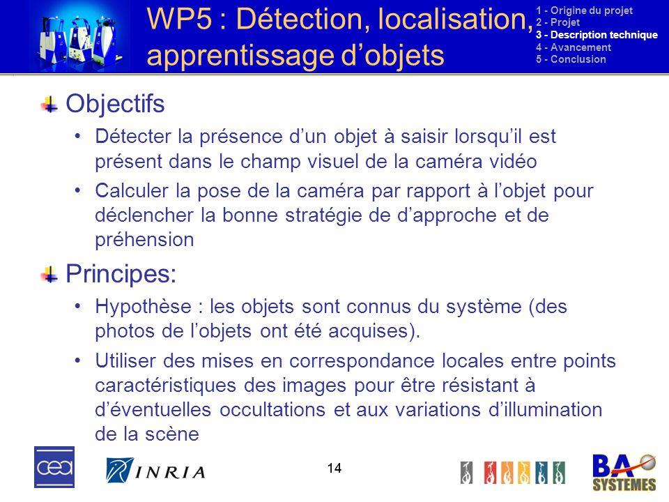 WP5 : Détection, localisation, apprentissage d'objets