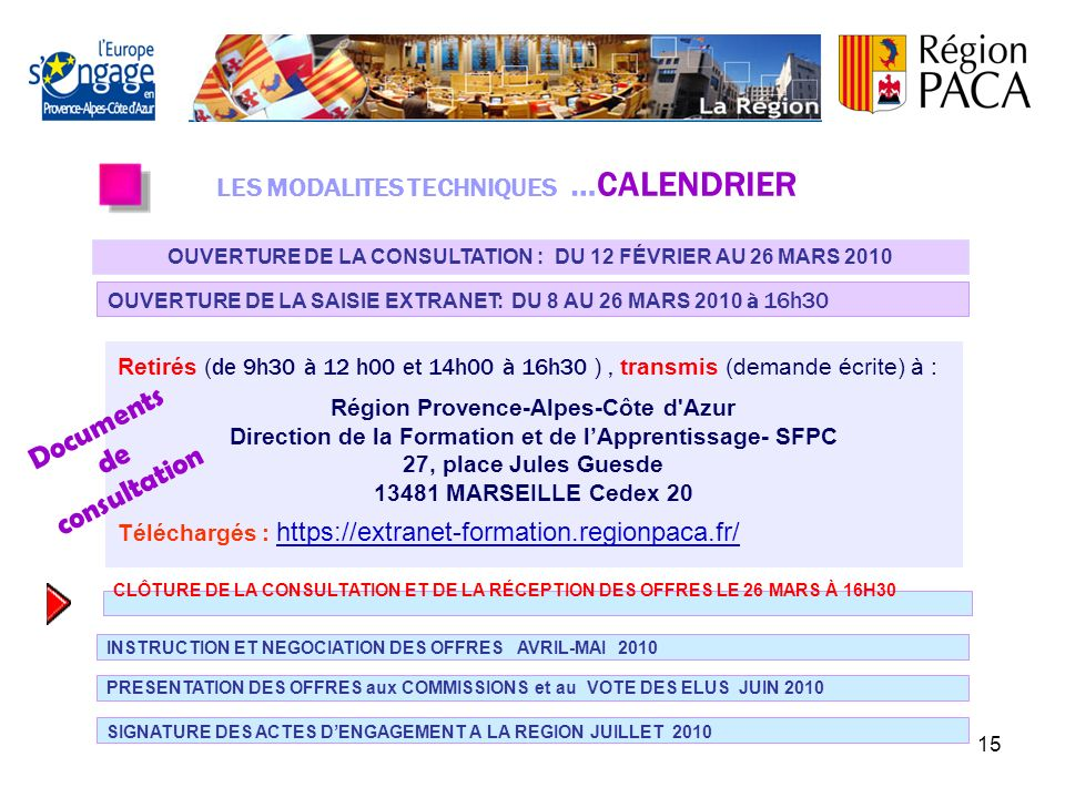 Documents consultation de LES MODALITES TECHNIQUES …CALENDRIER