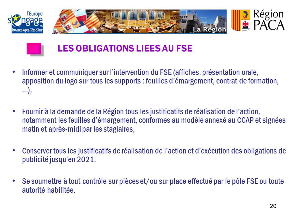 LES OBLIGATIONS LIEES AU FSE