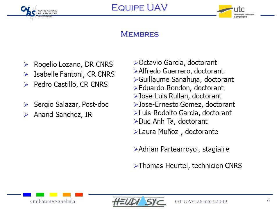 Equipe UAV Membres Rogelio Lozano, DR CNRS Isabelle Fantoni, CR CNRS
