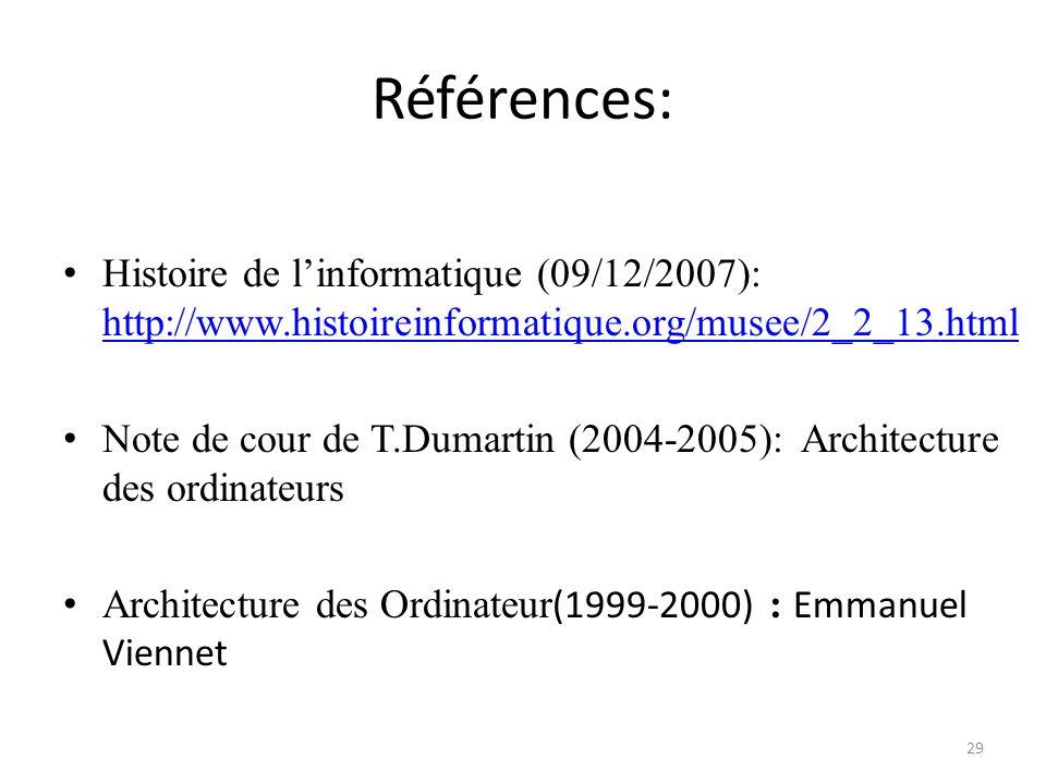 Références: Histoire de l'informatique (09/12/2007): http://www.histoireinformatique.org/musee/2_2_13.html.