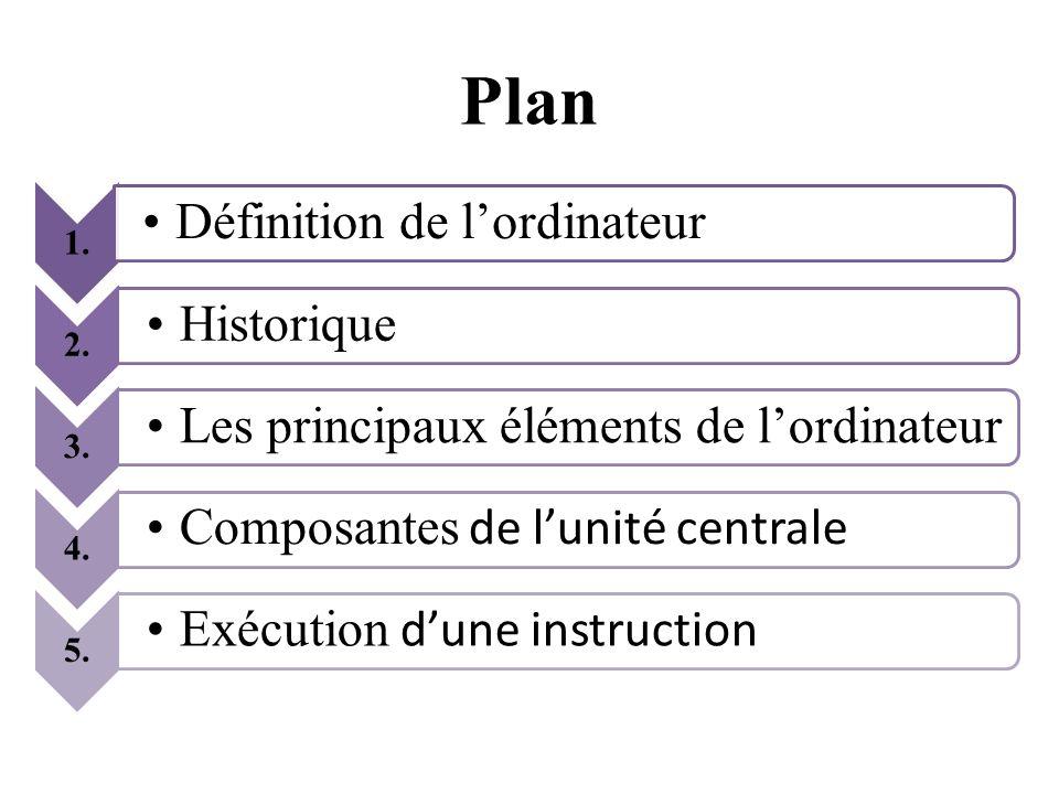 Plan 1. 2. 3. 4. 5. Définition de l'ordinateur Historique