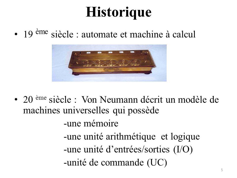 Historique 19 ème siècle : automate et machine à calcul