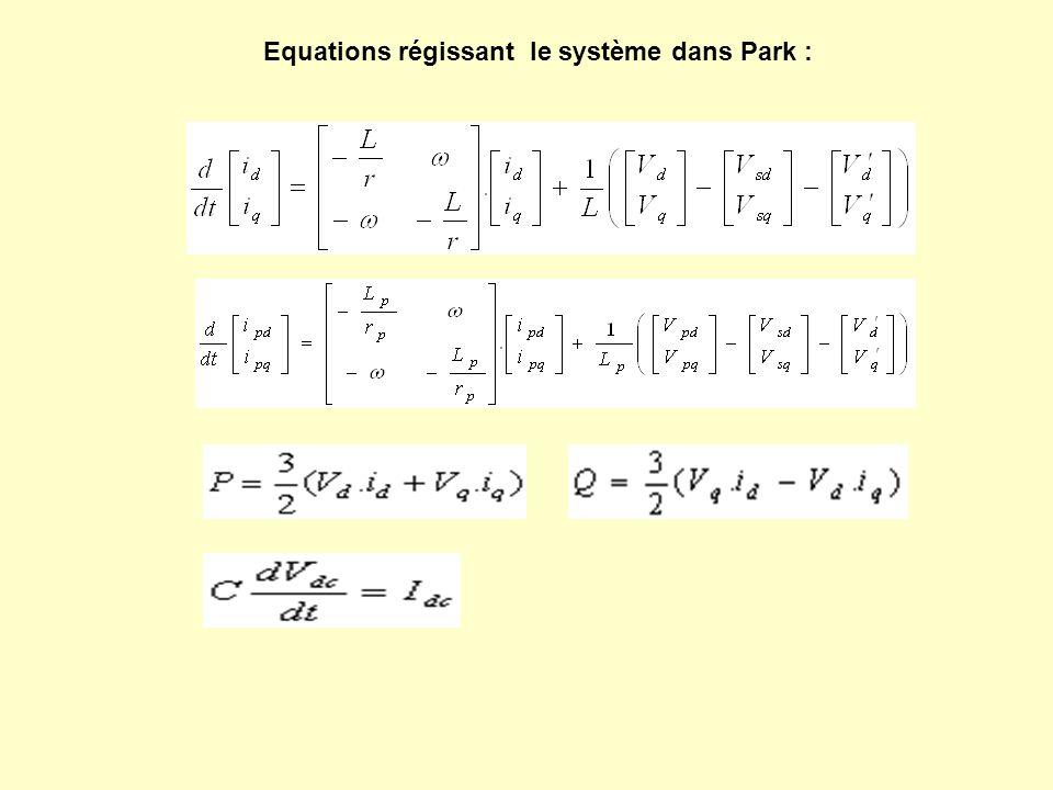 Equations régissant le système dans Park :