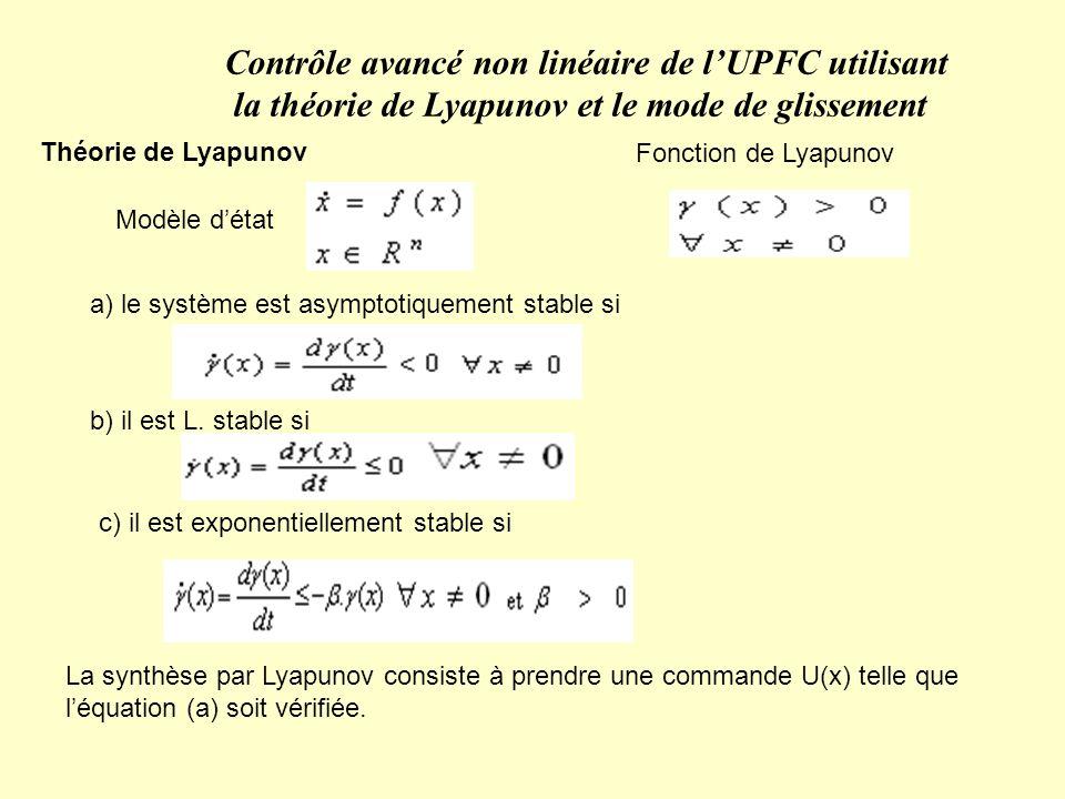 Contrôle avancé non linéaire de l'UPFC utilisant