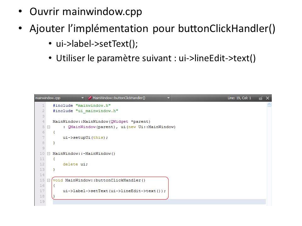 Ajouter l'implémentation pour buttonClickHandler()