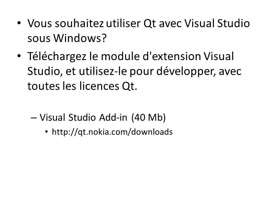 Vous souhaitez utiliser Qt avec Visual Studio sous Windows
