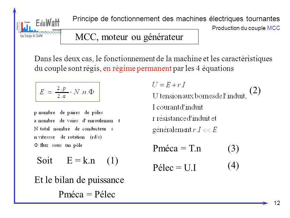 MCC, moteur ou générateur