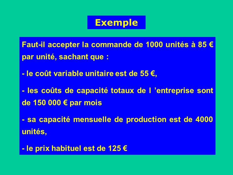 Exemple Faut-il accepter la commande de 1000 unités à 85 € par unité, sachant que : - le coût variable unitaire est de 55 €,