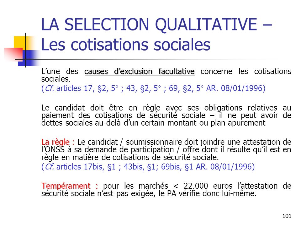 LA SELECTION QUALITATIVE – Les cotisations sociales