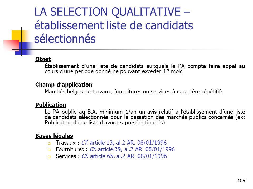 LA SELECTION QUALITATIVE – établissement liste de candidats sélectionnés