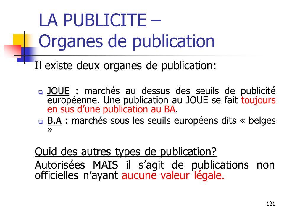 LA PUBLICITE – Organes de publication