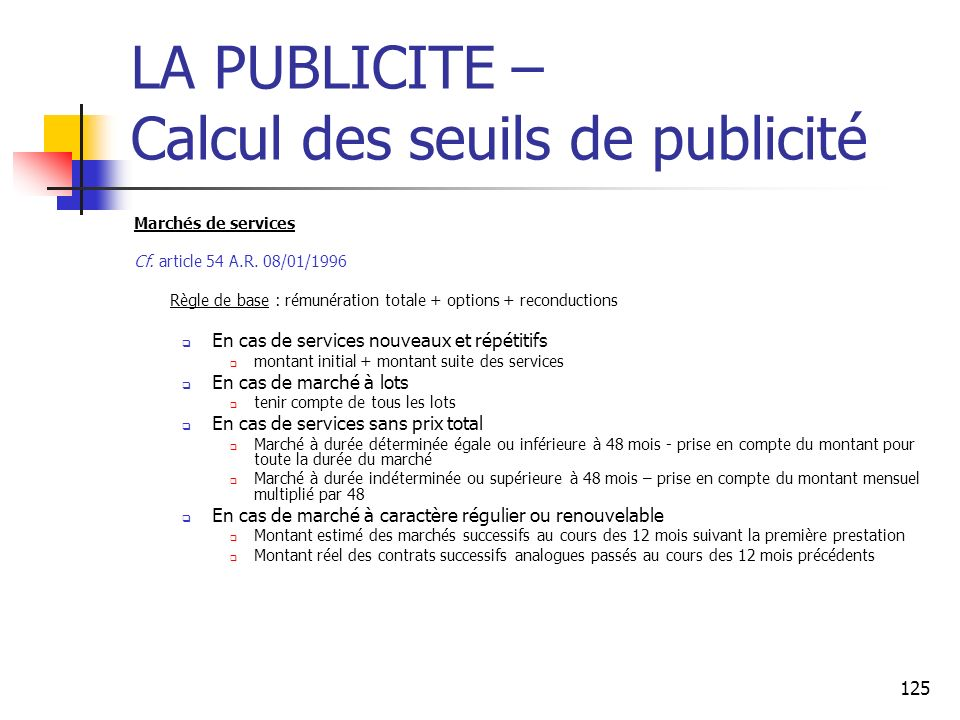 LA PUBLICITE – Calcul des seuils de publicité